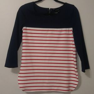 Jules & Leopold red/white/blue striped shirt